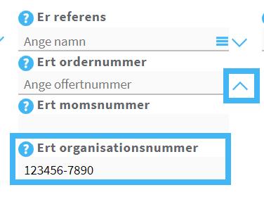 Organisationsnummer till kund